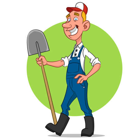 happy farmer: farmer. Vector illustration.