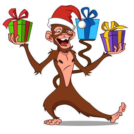 1 january: funny monkey with gifts.  Illustration