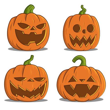 cartoon autumn: pumpkins for Halloween.
