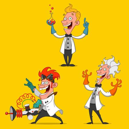 set of cheerful scientists. Vektorové ilustrace