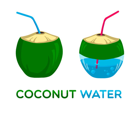 coconut drink: Vector logo for coconut water in two variations Illustration