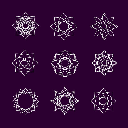 Vector collection of spirographs . Set oof linear icons