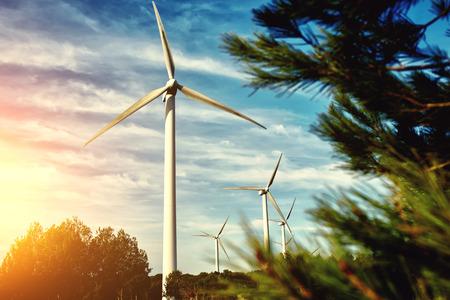 美しい曇り空と夕日、発電市外にある白い風車夜フィールドで風車の代替エネルギー資源