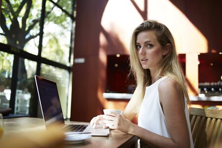 netbook: Portrait of a young attractive female creative designer sitting with laptop computer in modern cafe interior, beautiful smart woman freelancer using net-book for distance work during coffee break