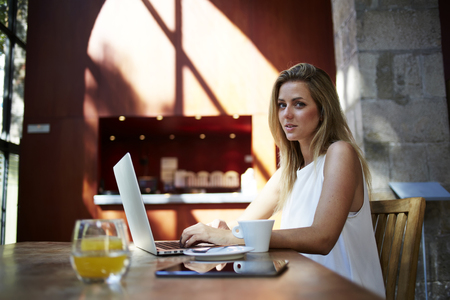 education in sweden: Portrait of a beautiful Sweden woman sitting front open laptop computer in modern coffee shop interior, attractive female freelancer using net-book for distance work during morning breakfast in cafe