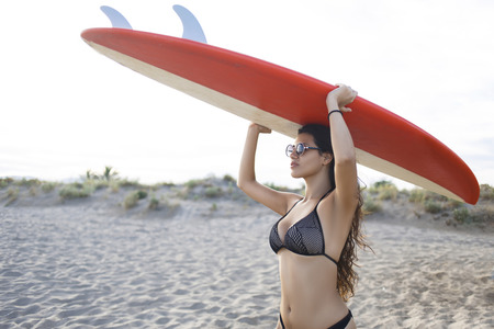 adventurous: Portrait of a young women dressed in sexy swimsuit holding surfboard while walk on the beach in sunny day, attractive female in bikini preparing for surfing in the sea during summer adventurous