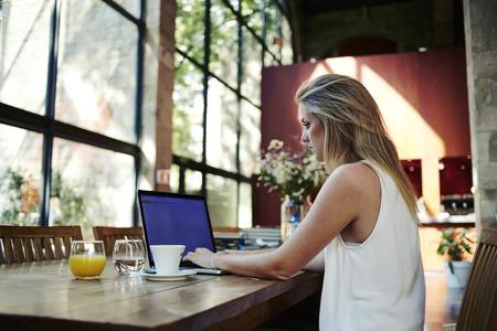Retrato de un profesional independiente de mujer joven que usa el ordenador portátil para el trabajo a distancia mientras se está sentado en la moderna cafetería interior, mujer rubia elegante que trabaja en red-libro durante el desayuno por la mañana en el café bar Foto de archivo