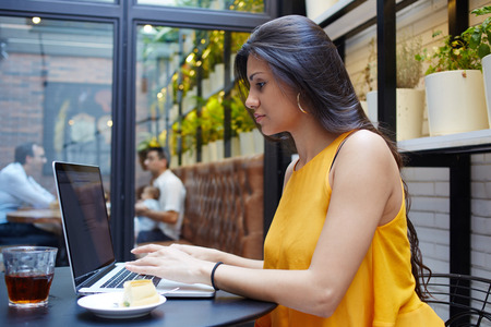 wealthy lifestyle: Portrait of young gorgeous business woman working on her laptop in coffee shop, charming long brunette hair female keyboarding on her net-book while sitting in cozy restaurant during lunch break
