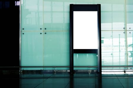 hall monitors: Blank billboard indoors of metro or airport hall, advertising mock up, public information board Stock Photo
