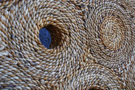 textil: Art textil object, textil circles background, art product