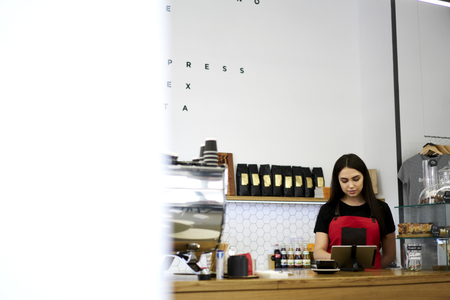 Professional cashier using counting application on modern tablet making revision during working process, waitress making clients ordering sending message using wireless connection to improve job Stock Photo