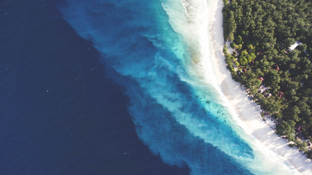Top view aerial drone photo of stunning colored sea beach with crystalline water. incredibly beautiful blue ocean meet with powder-white seashore surrounded by tropical rainforest or palm trees jungle