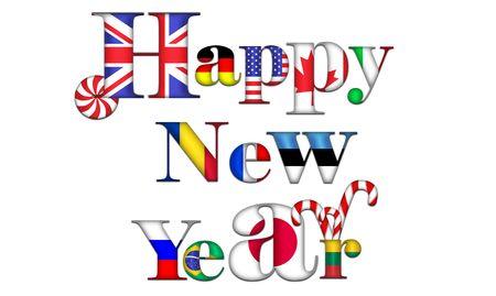bandiera inghilterra: Dolce & felice nuovo anno in tutto il mondo Archivio Fotografico