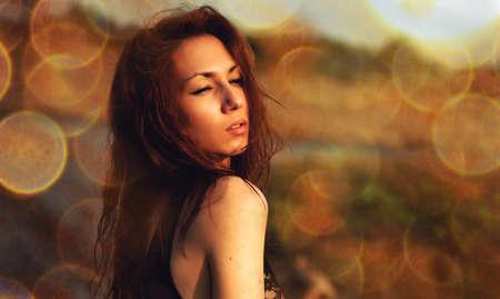 girl in bokeh photo