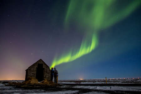 northern: Northern Lights in Iceland Stock Photo