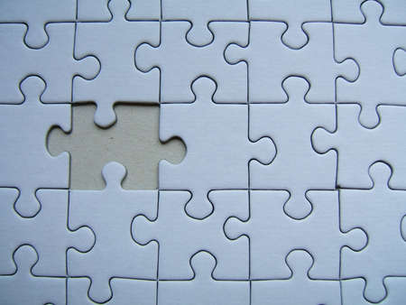 Blue puzzle - One alone Stock Photo - 227330