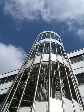 metallic stairs: Metallic stairs with blue sky background
