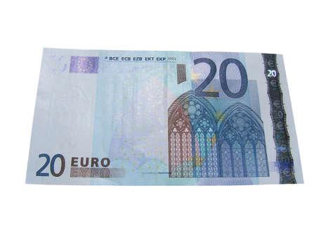 sucess: Twenty euro bill isolated