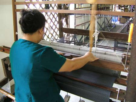 Handloom weaving in asia Stock Photo