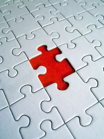 Red missing piece Stock Photo