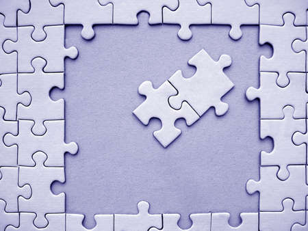 Blue jigsaw puzzle Stock Photo - 334273