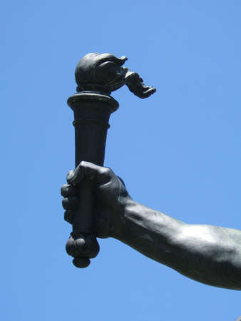 dated: Torch of liberty - Sculpture detail (dated 1890) Stock Photo