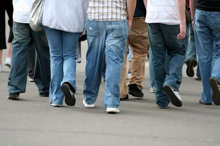 Teenagers walking in the street