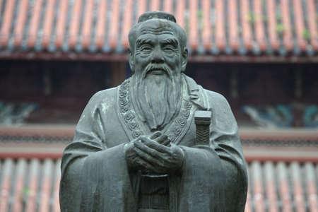 ancestors: Confucius statue in Confucius Temple in Suzhou (China) Stock Photo
