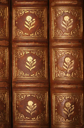 normal school: Ancient brown leather bound books Stock Photo