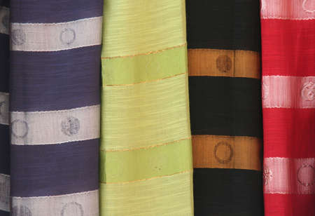Multi-colored textile in a shop Stock Photo - 3010050