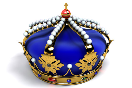 royal blue background: Gold crown with jewels Stock Photo