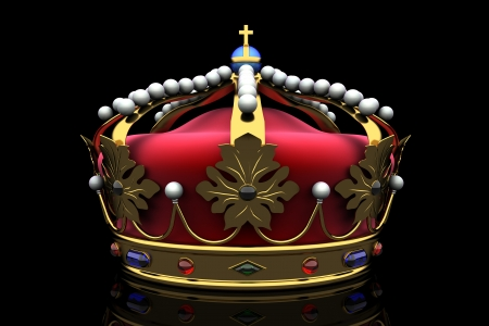 corona real: corona real sobre fondo negro Foto de archivo