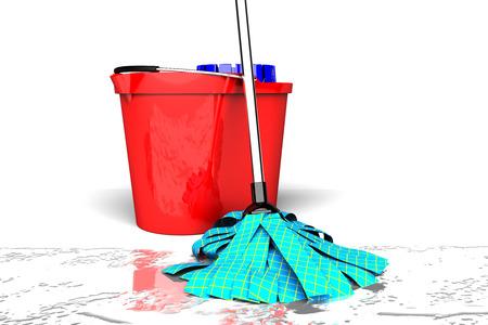 mops: bucket and wet mop