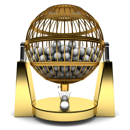 Bingo Cage of gold with balls Stock Photo