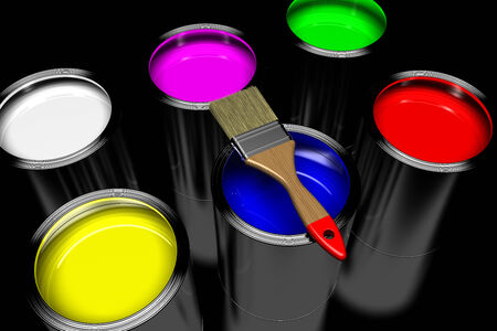 paint can: paintbrush with paint cans