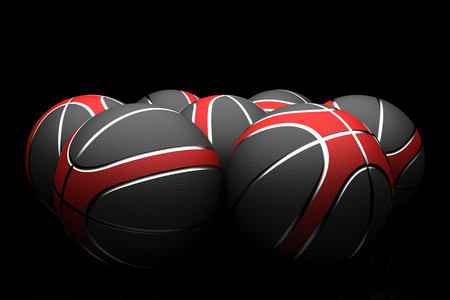 basketballs: Isolated group of basketballs with color red,black and silver on a black background