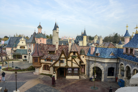 disneyland: FRANCE, PARIS - February 28.2016 - view of the medieval village in the back of the Sleeping Beauty Castle at Disneyland Paris park