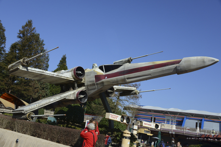wars: FRANCE, PARIS - February 29.2016 - Famous ship X-Wing of the movie Star Wars in Discoveryland at Disneyland Paris park Editorial