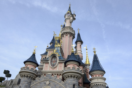 disneyland: FRANCE, PARIS - February 26.2016 - Facade of the Sleeping Beauty Castle in the park Disneyland Paris