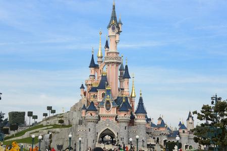 disney cartoon: FRANCE, PARIS - February 26.2016 - Sleeping Beauty Castle in the park Disneyland Paris Editorial