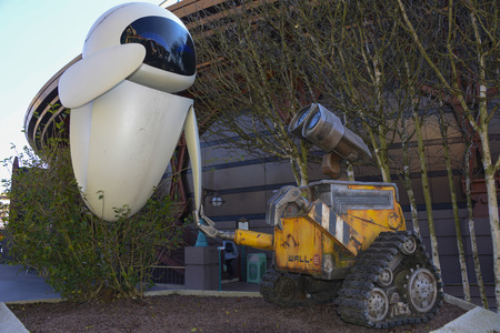 FRANCE, PARIS - February 28, 2016 - Figures of decoration of the characters of the movie Wall-e, located in the Discoveryland area, in the Disneyland Paris park