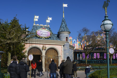 FRANCE, PARIS - February 29, 2016 - Entrance to Princess Pavilion, an attraction designed especially for girls, with all Disney story princesses, in the Fantasyland area, inside Disneyland Park.