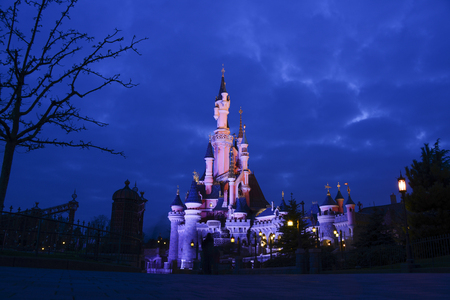 FRANCE, PARIS - February 26, 2016 - Night view of the Sleeping Beauty Castle in the Disneyland Park Paris