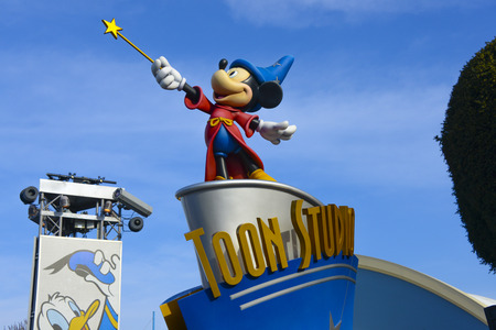 FRANCE, PARIS - February 28, 2016 - View of the Wizard Mickey Mouse, from the movie Fantasia, welcoming us to the Disney studios.