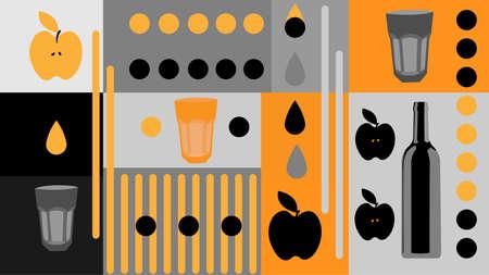 wallpaper in black and same colors, apple schnapps, apples, glasses, bottle