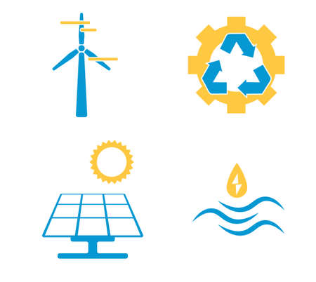 Alternative energy sources. Renewable energy or ecology templates. Solar energy, wind energy, hydropower. Recycling sign. Four elements of icons.