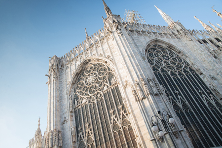 Gothic building with statues against the sky Stock Photo