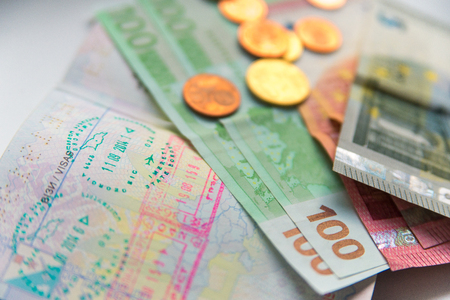 tarjeta visa: Money banknotes coins and passport with visa stamps