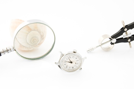 mesmerized: Clock with Magnifier and Compass or Time and Space