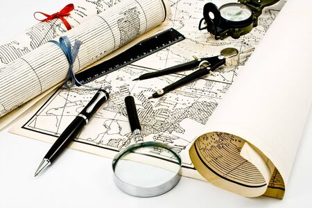 Olda Maps with compass and magnifier Stock Photo - 8764181